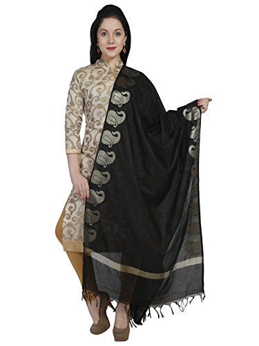 Dupatta Bazaar Women\'s Black & Gold Cotton Silk Dupatta
