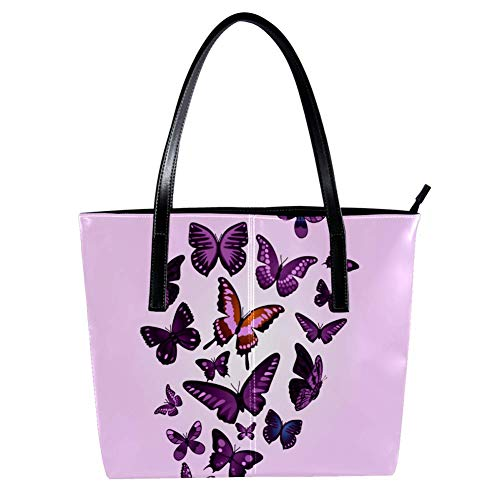 Women's Bag Shoulder Tote handbag with Purple Butterflies Print Zipper Purse PU Leather Top-handle Zip Bags -