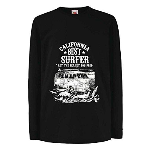 irt mit langen Ärmeln Der beste Surfer Kaliforniens - Strand-Sommer-Ferien, surfender Stil, Packwagen, Reiseentwurf (12-13 years Schwarz Mehrfarben) (Machen Halloween-magazin)