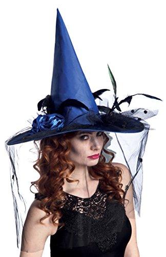 Boland 96929 cappello strega dorissa con velo, blu, taglia unica