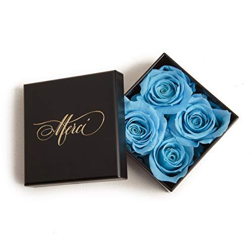4 kleine konservierte Rosen die lange halten zum Danke sagen als feine Blumenbox mit Goldschrift MERCI Geschenk für Einladung - Größe 6 x 6 x 2 cm (4 kleine Röschen, Blau)