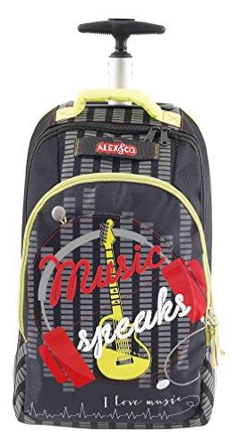 Alex & Co Zaino Trolley Superstar con Maniglia Telescopica Zainetto per bambini, Poliestere, Nero, 48