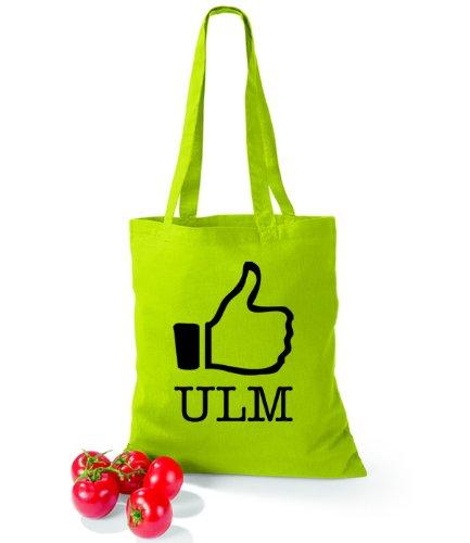 Artdiktat Baumwolltasche I like Ulm Lime Green