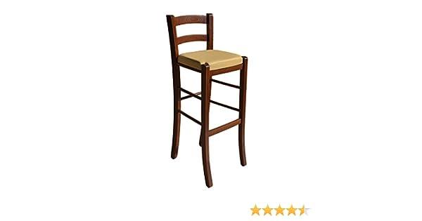 Sgabello in legno massello con seduta imbottita in ecopelle color