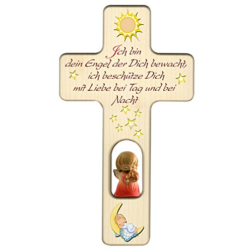 Kinderkreuz Für Mädchen: Kreuz mit Sonne, Mond und Schutzengel