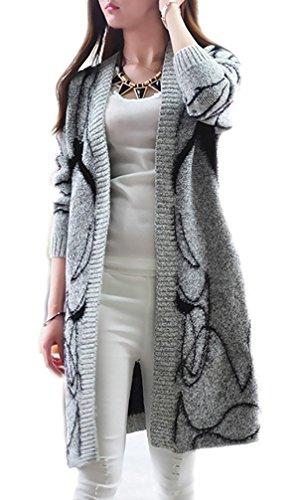 Femme Cardigan Tricot Manches Longues Elégante Imprimé Vintage Fashion Loisirs Automne Hiver Chaude Longues Cardigan Sweater Vestes Manteau Parka Outwear Tops Noir