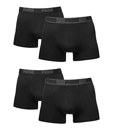 Puma Herren Boxer Basic Unterhosen 4er Pack in verschiedenen Farben 521015001 (black/black (230), S)