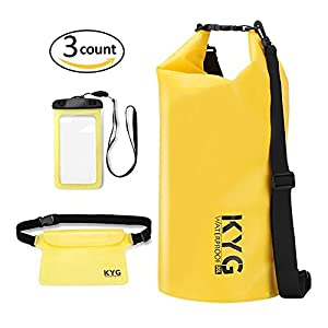 Premium bolsa estanca 20L impermeable seca PVC- Set de bolsa waterproof con funda táctil de móvil y bolsa cintura para playa y deportes al aire(rafting/kayak/senderismo/esquí/pesca/escalada/camping)