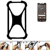 K-S-Trade Handyhülle für Vertu Constellation (2017) Schutz Hülle Silikon Bumper Cover Case Silikoncase TPU Softcase Schutzhülle Smartphone Stoßschutz, schwarz (1x)