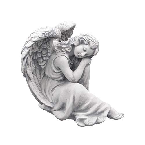 gartendekoparadies.de Massive Steinfigur schlafender Engel aus Steinguss frostfest