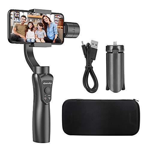 EXCUTY 3 Axis Handheld Gimbal para iPhone y Android Smart iPhone Samsung Galaxy Huawei: Controles Inteligentes de APLICACIÓN para panoramas automáticos, intervalos de Tiempo y Seguimiento (Negro)