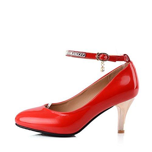 balamasa Femme Baskets Boucle Dessus Cuir Verni pumps-shoes Rouge - rouge