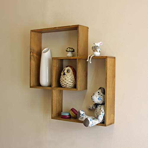 Best Value Here Wall Mount Wooden Storage Shelves Distressed Wood Shelving Decoration Display Unit (Intersecting Wall Shelf)