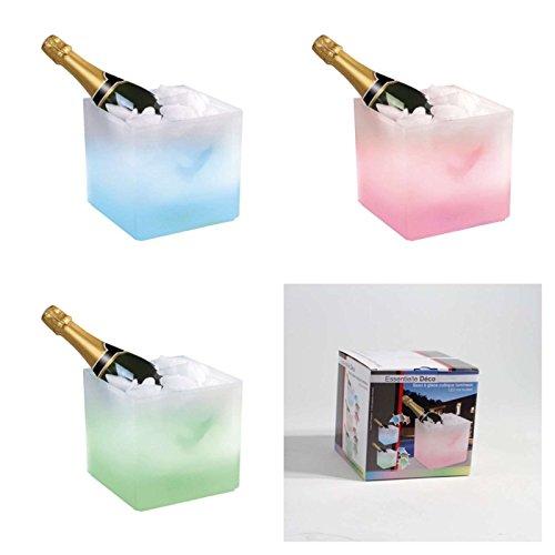 Sektkühler Farbwechsel LED Beleuchtung Flaschen-Kühler Eiskübel Sekt-Kübel Weinkühler (Kubisch 19 x19 x18 cm, Eiseimer, Eis Behälter, Wechselnde Farben)