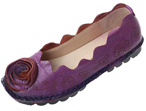Vogstyle Femme Fleur en Cuir Slip-On Style 8 Violet