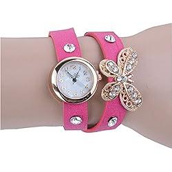 PromiseU Fashion Women Retro Synthetic Leather Strap Watch Butterfly Rivet Bracelet Wristwatch-Pink