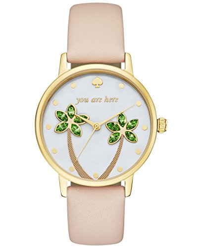 Kate Spade Women's 34mm Beige Leather Band Steel Case Quartz Gold-Tone Dial Analog Watch KSW1103