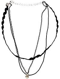 0e14d6ec6c1b Desconocido Joyería Collar de Cadena Colgante Gargantilla Punk Gótica Cuero  Artificial Señora Negro