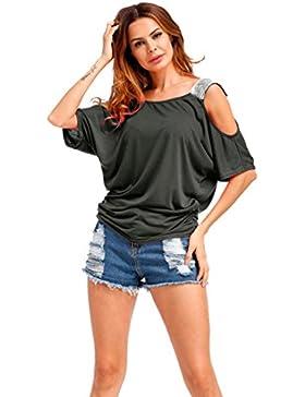 Maniche corte senza maniche da donna Vovotrade Camicia di Sequins Camicia di estate di estate Casuale semplice...