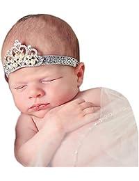 K-youth® diademas bebe niña diademas bebe recien nacidos Perla corona banda  para el pelo elasticas cintas de pelo bebe… c4819465e4e