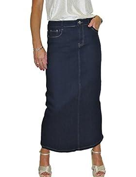 ICE Maxi largo Falda de los vaqueros del estiramiento, lavado liso, Azul índigo 40-50
