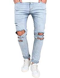 Elecenty Pantaloni da denim slim fit con zip nastrati Jeans da uomo skinny  strappati elasticizzati da c1252755ab5
