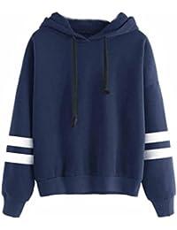 Saingace Women Girls Long Stripe Sleeve Hoodies Sweatshirt Jumper Hooded Pullover Tops Blouse