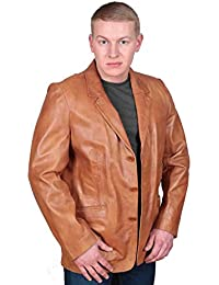 Klassische Einbau Blazer Lederjacke für Herren Paul hellbraun