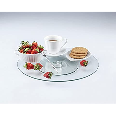 LANSH Tempered Glass 14 Inch Lazy Susan and Rotating Tray