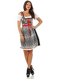 Fashion4Young Damen Dirndl Trachtenkleid 3 tlg. Minibluse Kleid Schürze Oktoberfest