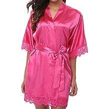 27b1022589 Juleya Encaje Sexy Seda de Dama de Honor Novia Bata Mujeres Satén Corto de  Boda Kimono