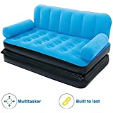 Shoppion 5 in 1 Inflatable Three Seater Queen Size Sofa Cum Bed with Pump(Blue)