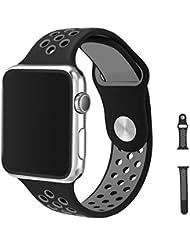 Watch Armband 42mm, Vaxiuja Serie 1/2 Sport Armbanduhr Silikonarmband Ersatzarmband Armband for Apple iWatch / Apple Uhr Nike + (42mm, Gray & Schwarz)