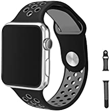 Watch Armband 42mm, Vaxiuja Serie 1/2 Sport Armbanduhr Silikonarmband Ersatzarmband Armband for Apple iWatch / Apple Uhr Nike + (42mm, Gray & Schwarz)