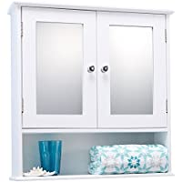 LIVIVO ® Double Mirror Door Bathroom Wall Cabinet – Elegant White Wooden Toilet Essentials Wall Mounted Storage Cupboard with 2 Mirrored Doors with Adjustable Shelf and Open External Wood Shelf - Simple Design to Suit the Decor in Any Room - Smooth Baked On White Finish for Bathroom Standard Water Resistance