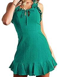 60aa1dca1b Mujer Vestido de Chaleco - Sin Mangas Espalda Abierta Vestido de Cabestrillo  Sexy Hueco con Cordones