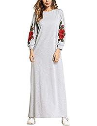 Túnica Bordado Floral Maxi musulmán Manga Larga O-Cuello Causal Vestido para Mujeres