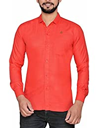 PP Shirts Men Red Coloured Solid Shirt(PP1217102)