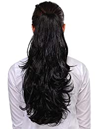 Pema Hair Extensions And Wigs Synthetic Fiber Clutcher Ponytail for Instant Volume (Black)