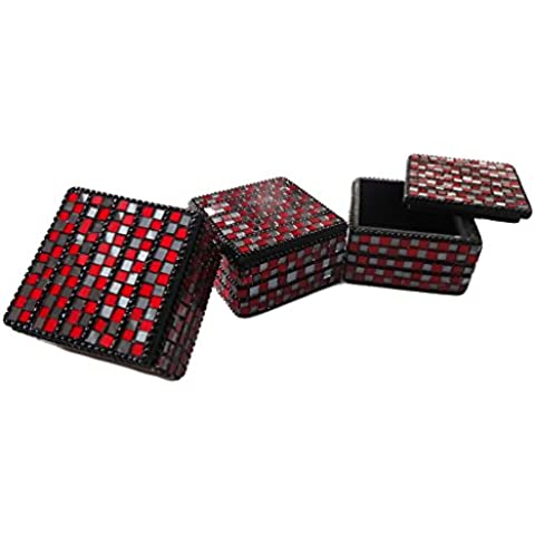 contenitore di monili decorativi Set di 3 pezzi fatti a mano di alluminio di figura materiale lac scatola della pillola nera articolo da regalo custodia tradizionale piazza