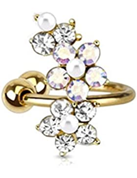 Paula & Fritz® Ohrklemme aus Edelstahl Chirurgenstahl 316L vergoldet Motiv Blumen aus Zirkonia und Perlen