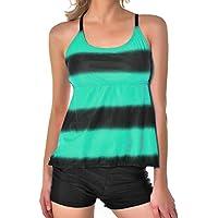284e933019d1 Donna Tankini Set Due Pezzi Bikini Costume da Bagno Gradiente Giuntura  Colore Diviso Costumi da Spiaggia