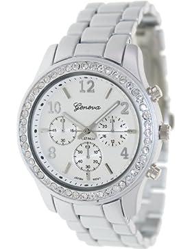 Geneva 9073 Designer-Armbanduhr, für Damen, Edelstahl, mit Strass-Lünette, Silberfarben