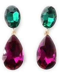 8e94c369d158 Pendientes Largos Mujer Bisutería Cristales de Colores Fiesta Boda Forma  Lágrima Chapado Oro o Plata