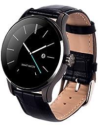 Classic salud Metal Smartwatch con Bluetooth Monitor de frecuencia cardíaca para Android piel de color negro de la pulsera