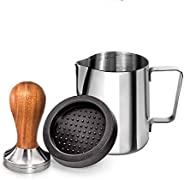 Santo Wood Espresso Tamper 51mm, Coffee Tamper with Sandalwood Handle, Incl. Free Milk Frothing Pitcher 12oz/3