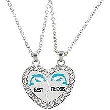 """HOUSWEETY 2 Pcs Collier d'Amitie Forever Pendentif Coeur Briser Couple Puzzle Ancre """"best friends"""" pour Femme Fille"""