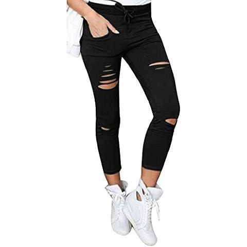 Sannysis pantalones mujer jeans pantalones rotos flacos cintura alta