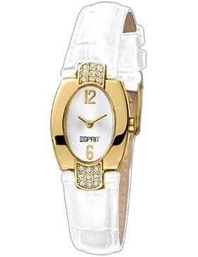 Esprit Damen-Armbanduhr Glam Deco White Gold Analog Leder ES102262006