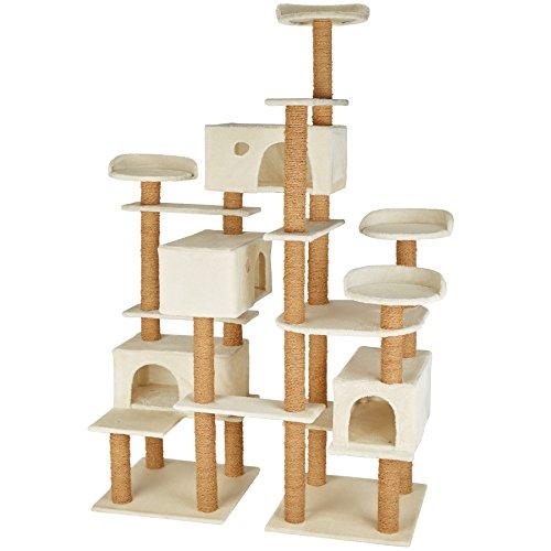 TecTake 800551 XXL Katzen Kratzbaum | Stämme komplett mit Kokosseil umwickelt | 214cm hoch - Diverse Farben (Beige | Nr. 402805) -